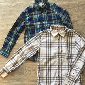 Other - Lot of 2 button down plaid shirts boys Large